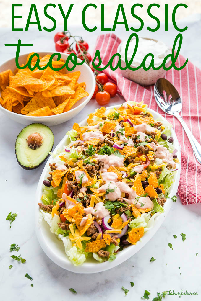 titled photo (and shown) Easy Classic Taco Salad