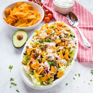 ground beef taco salad in white bowl
