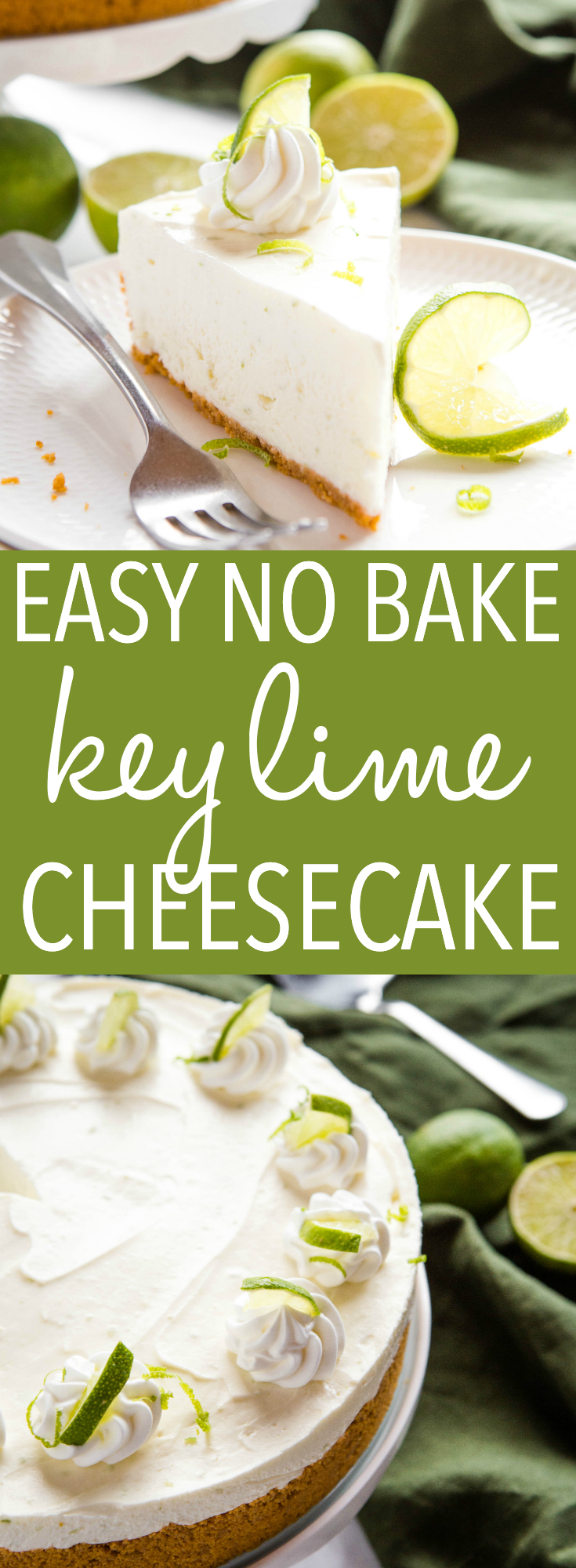 This Easy No Bake Key Lime Cheesecake is the perfect easy-to-make cheesecake dessert that's ultra creamy and delicious and packed with fresh lime flavour! Recipe from thebusybaker.ca! #keylimepie #keylime #cheesecake #nobakecheesecake #nobake #summer #dessert #sweet via @busybakerblog
