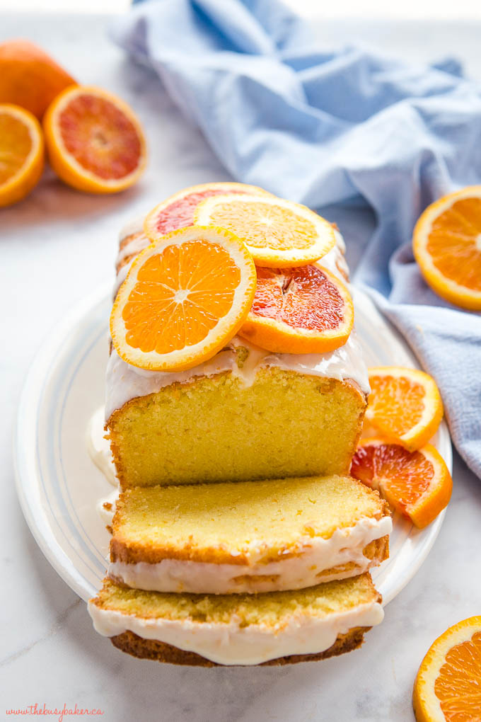 citrus sour cream pound cake with navel orange and blood orange slices