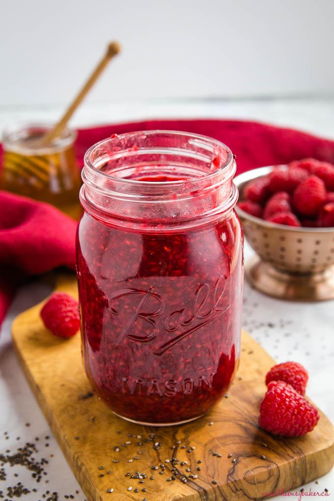 chia seed raspberry jam in mason jar