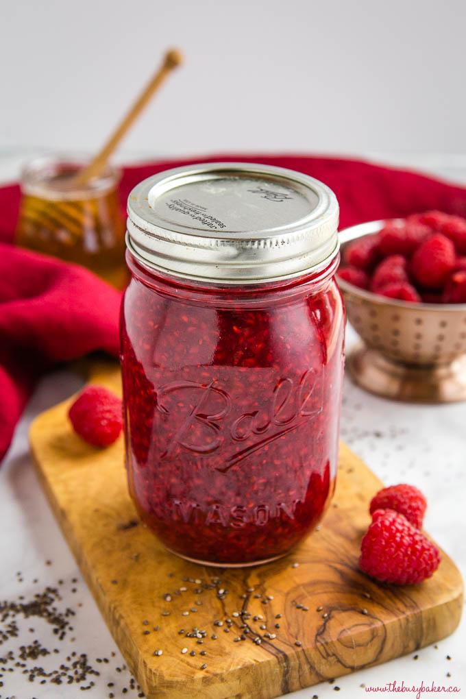 chia seed raspberry jam in Ball Mason Jar