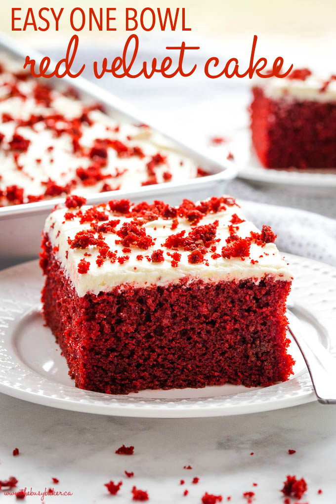 slice of red velvet cake on white plate