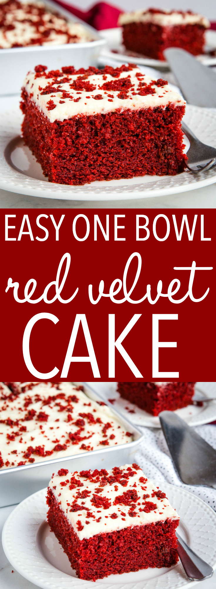 This Easy One Bowl Red Velvet Cake is perfectly moist and delicious, bright red and chocolatey, and topped with a fluffy sweet cream cheese buttercream frosting! Recipe from thebusybaker.ca! #redvelvetcake #redvelvet #cake #chocolate #valentinesday #red #dessert #sweet #treat #homemade #onebowl #easycake via @busybakerblog