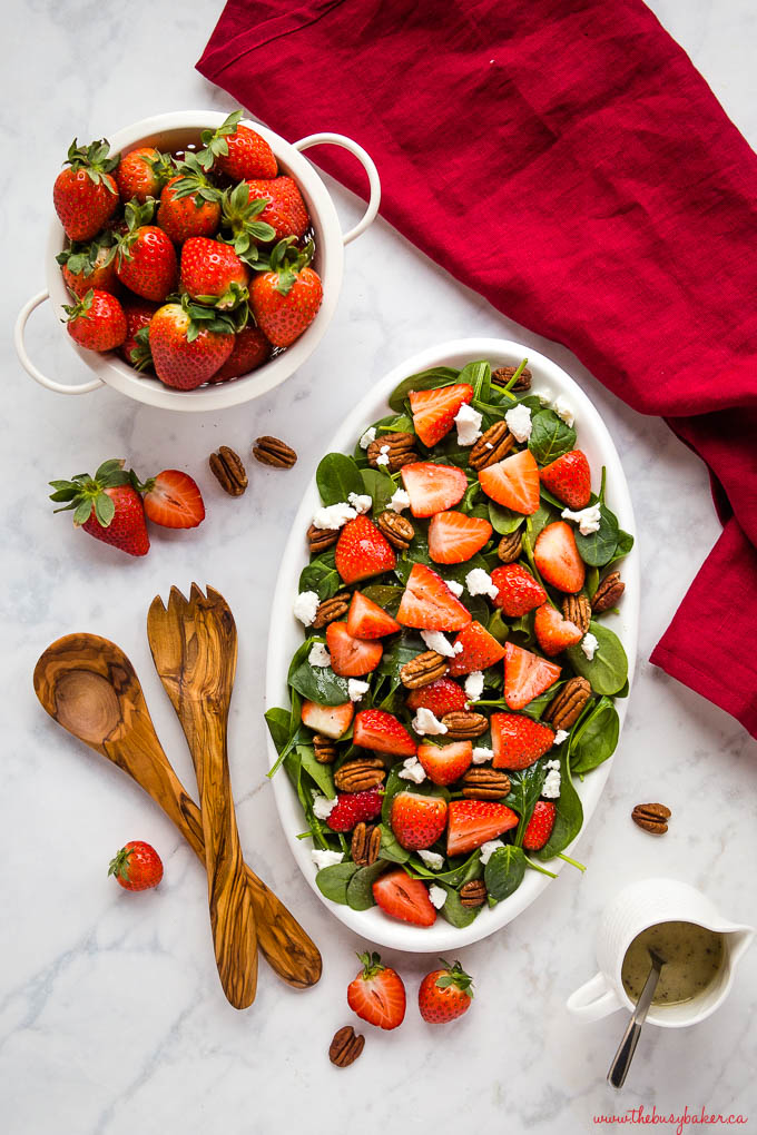 strawberry spinach salad with goat cheese and pecans and lemon poppyseed dressing
