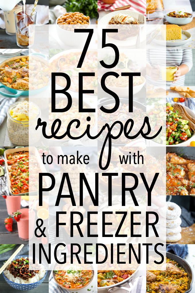 These 75 BEST Recipes to Make With Pantry and Freezer Ingredients are delicious, easy recipes that can be made with limited pantry & freezer staples! Recipes from thebusybaker.ca! #freezer #pantry #easy #onhand #simple #recipes #chicken #beef #pork #vegetarian via @busybakerblog