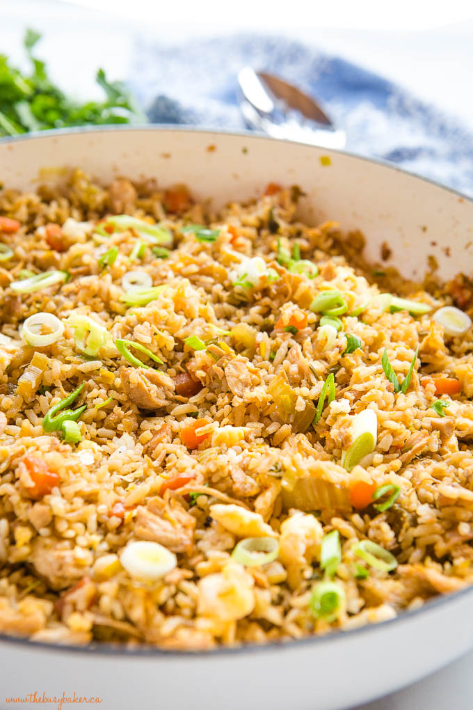 Asian rice recipe made from scratch in white skillet