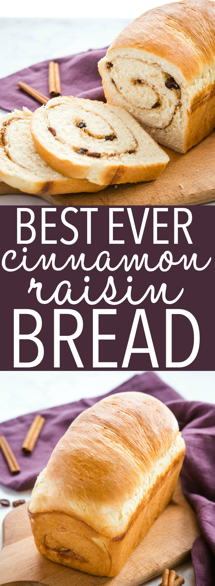 This Best Ever Cinnamon Raisin Bread is the perfect soft, sweet bread recipe with a sweet cinnamon swirl and juicy raisins! Makes a delicious snack or breakfast! Recipe from thebusybaker.ca! #cinnamon #raisin #bread #toast #homemade #baking #cinnamonraisin #sweet #dough #homemadebread #baker #homesteading #breakfast #snack via @busybakerblog