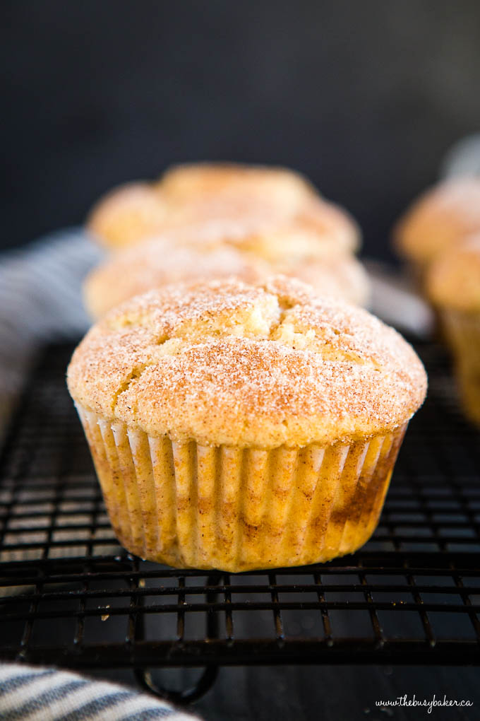 close up photo: cinnamon sugar muffin on cooling rack