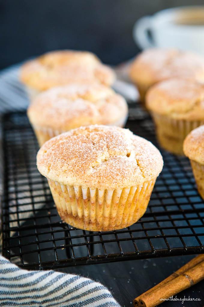 sugar muffins on baking rack