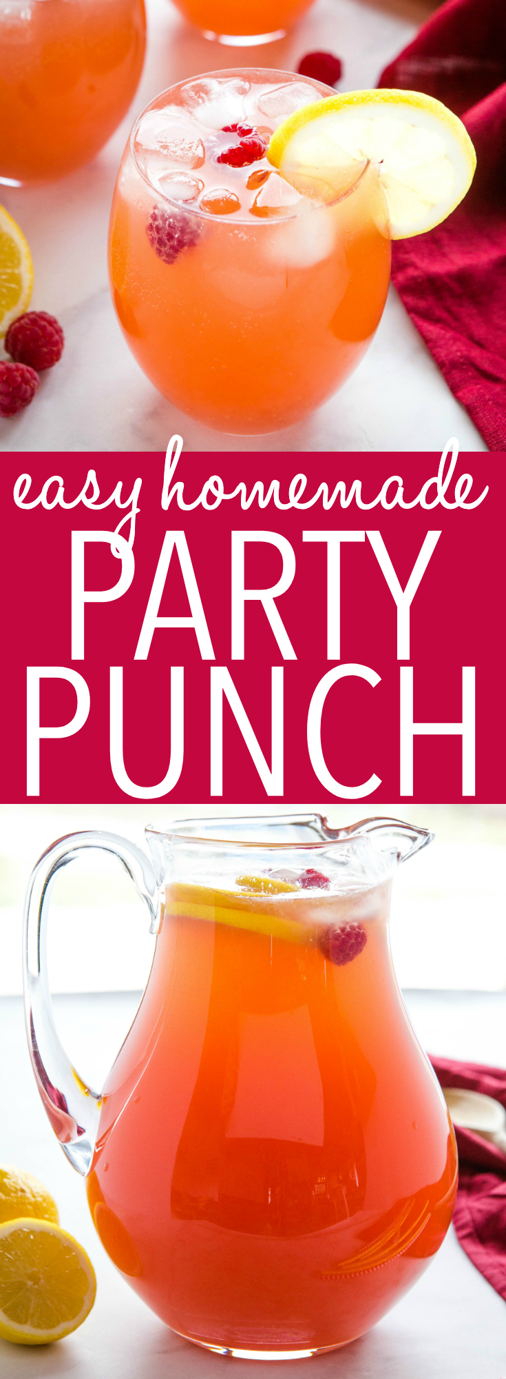 Make this Fruity Punch Recipe for a quick and easy non-alcoholic punch that's great for parties and holidays! You only need 4 ingredients! Recipe from thebusybaker.ca! #party #punch #holiday #fruit #cranberry #lemon #lime #easter #christmas #birthday via @busybakerblog