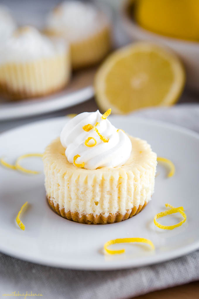 mini lemon cheesecakes on plate with whipped cream and lemon zest