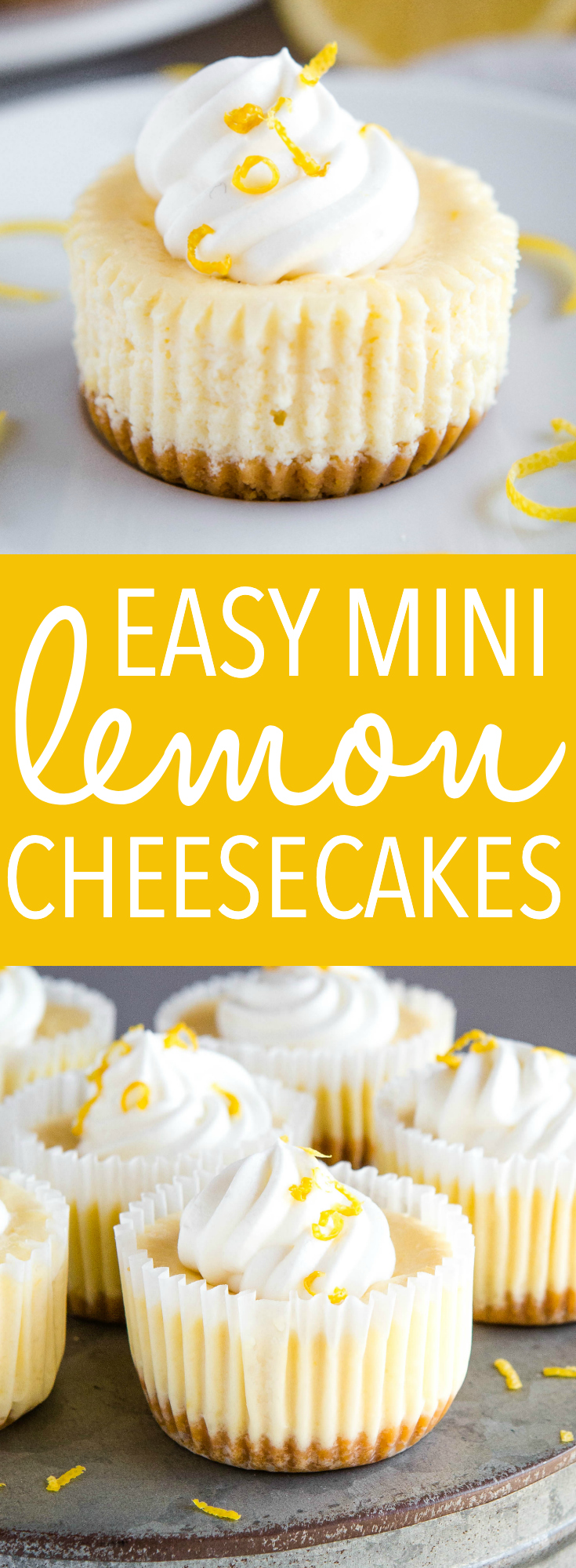 These Easy Mini Lemon Cheesecakes are the perfect easy dessert for spring! Just a few simple ingredients, an easy cookie crust and a fluffy cheesecake filling that's bursting with citrus! Recipe from thebusybaker.ca! #lemon #cheesecake #dessert #sweet #homemade #baking #mini #singleserving #citrus via @busybakerblog