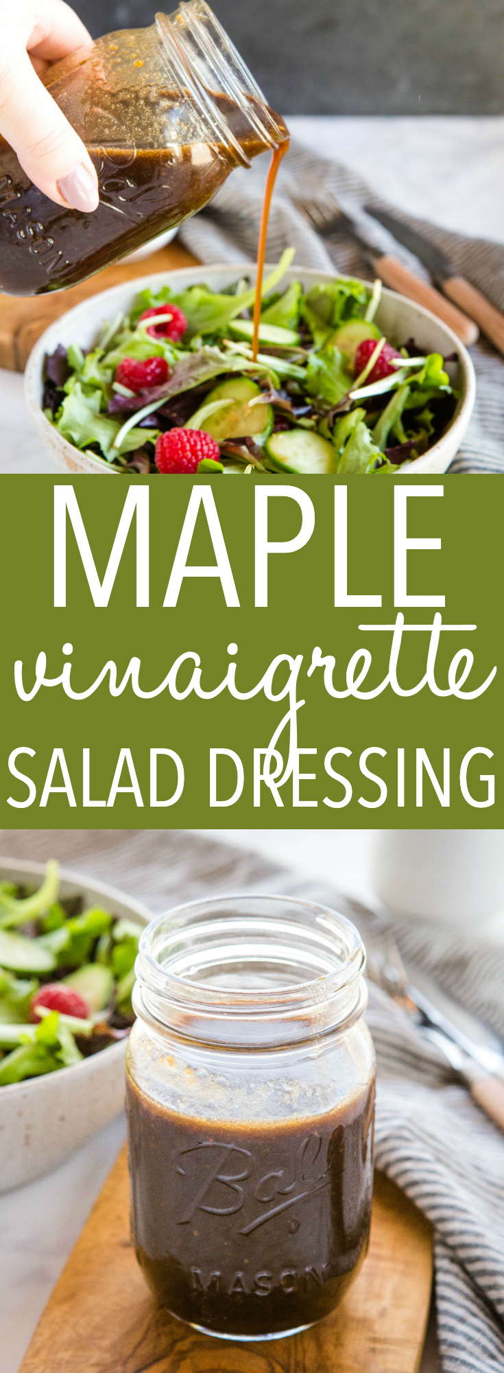 This Maple Balsamic Vinaigrette Salad Dressing is an easy-to-make salad dressing that's perfect on all your favourite salads! It's low in fat and made with only 5 simple ingredients! Recipe from thebusybaker.ca! #salad #saladdressing #vinaigrette #maplesyrup #homemade #vegan #vegetarian #plantbased #healthy #refinedsugarfree #wholefoods via @busybakerblog