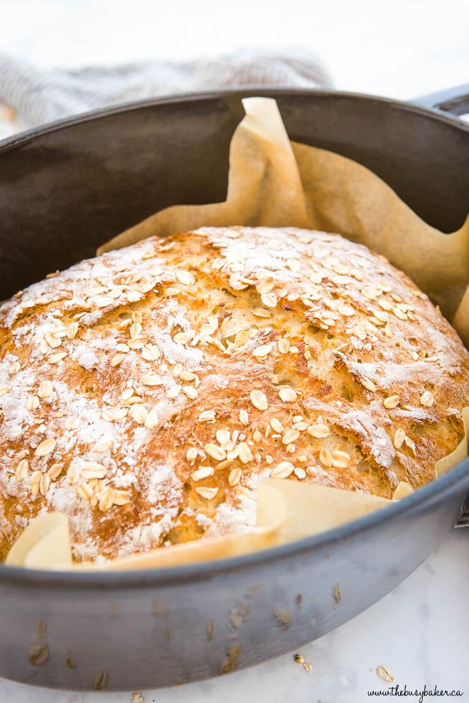 golden brown crust on loaf of honey oat bread in black pot