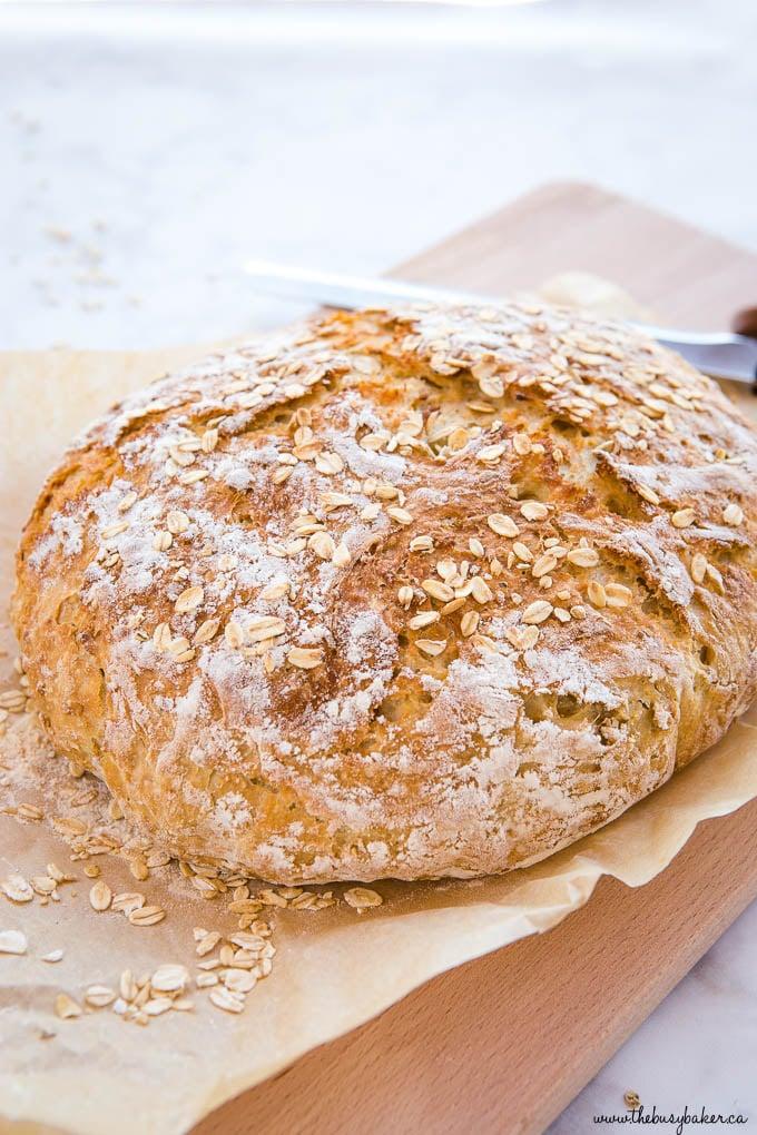 loaf of crusty honey oat bread