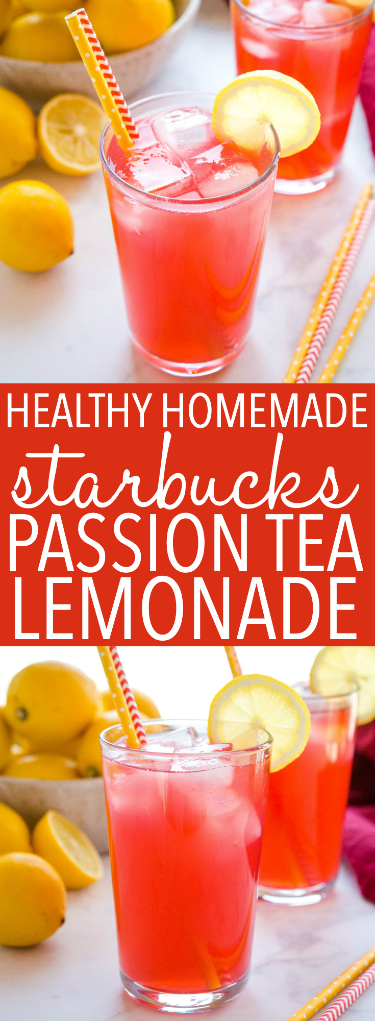 This Healthy Homemade Starbucks Passion Tea Lemonade is the perfect warm-weather drink that tastes even better than your favourite coffee shop iced tea! Easy to make and no refined sugar! Recipe from thebusybaker.ca! #starbucks #passiontealemonade #lemonade #drink #icedtea #coffee #summer #spring #homemade #healthy #refinedsugarfree via @busybakerblog