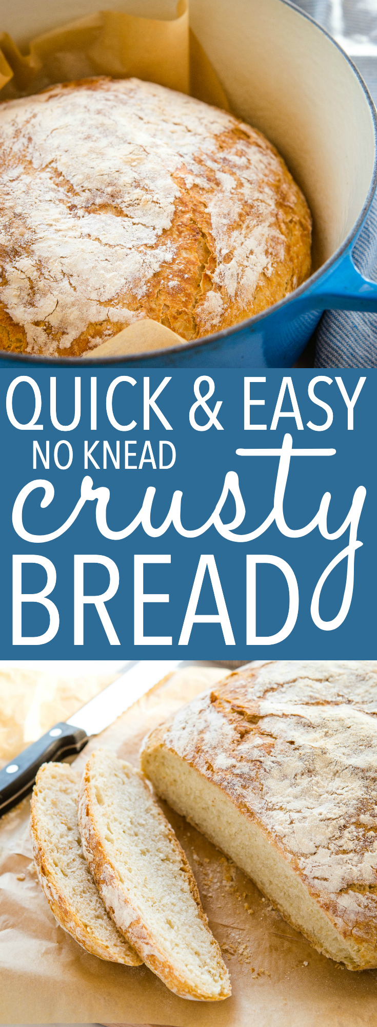Make this quick no knead bread with 4 ingredients and a Dutch oven! No overnight rise and no kneading. It's soft bread with a crispy crust! Recipe from thebusybaker.ca! #homemadebread #crustybread #bakerybread #artisanbread #dutchovenbread #bread #baking #yeast via @busybakerblog