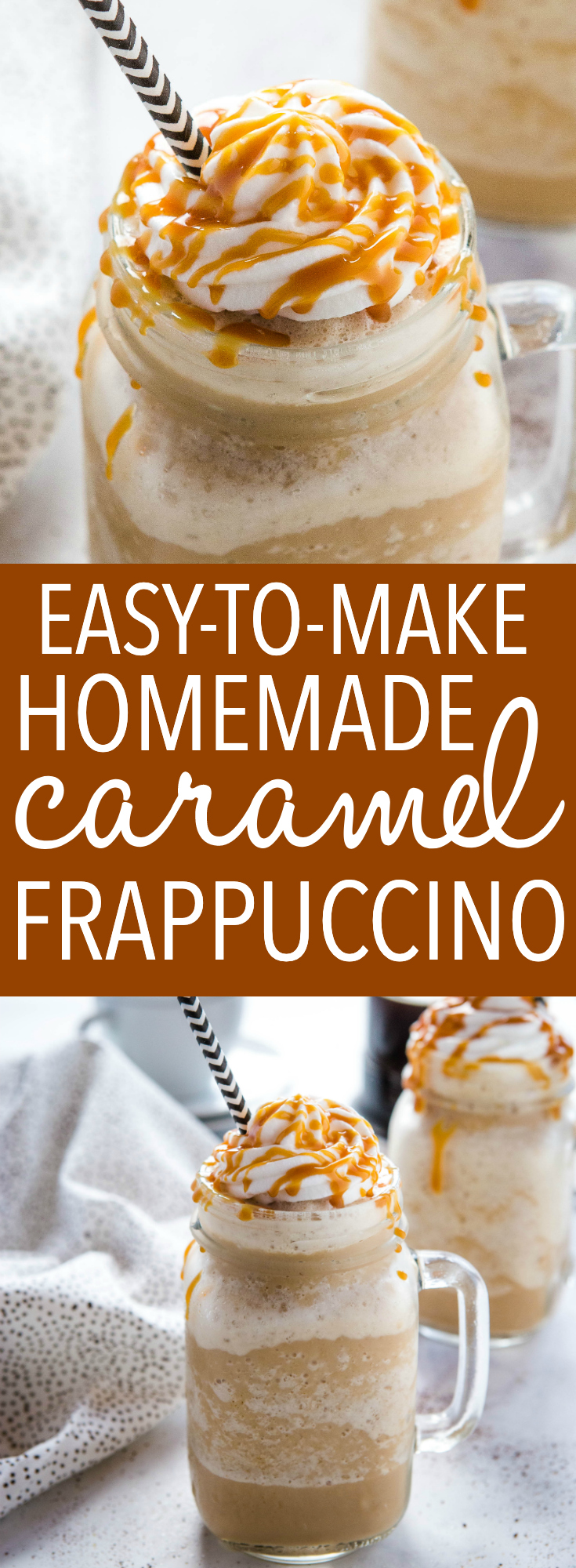 This Easy Homemade Caramel Frappuccino is the perfect refreshing coffee drink that's easy to make in the blender with simple ingredients! Top it with whipped cream and caramel sauce for a coffee shop-style treat! Recipe from thebusybaker.ca! #frappuccino #coffee #drink #summer #starbucks #blender #treat #sweet #blendedcoffee via @busybakerblog