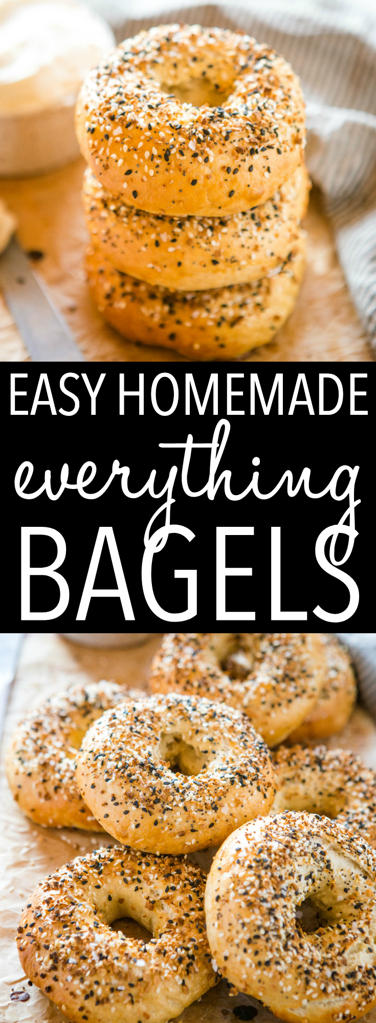These Easy Homemade Everything Bagels are perfectly dense & chewy, and topped with Everything Bagel Seasoning. And they're SO easy to make with no special equipment or ingredients! Recipe from thebusybaker.ca! #bagels #homemade #everythingbagels #bagelrecipe #baking #creamcheese #easyrecipe #howtomakebagels via @busybakerblog