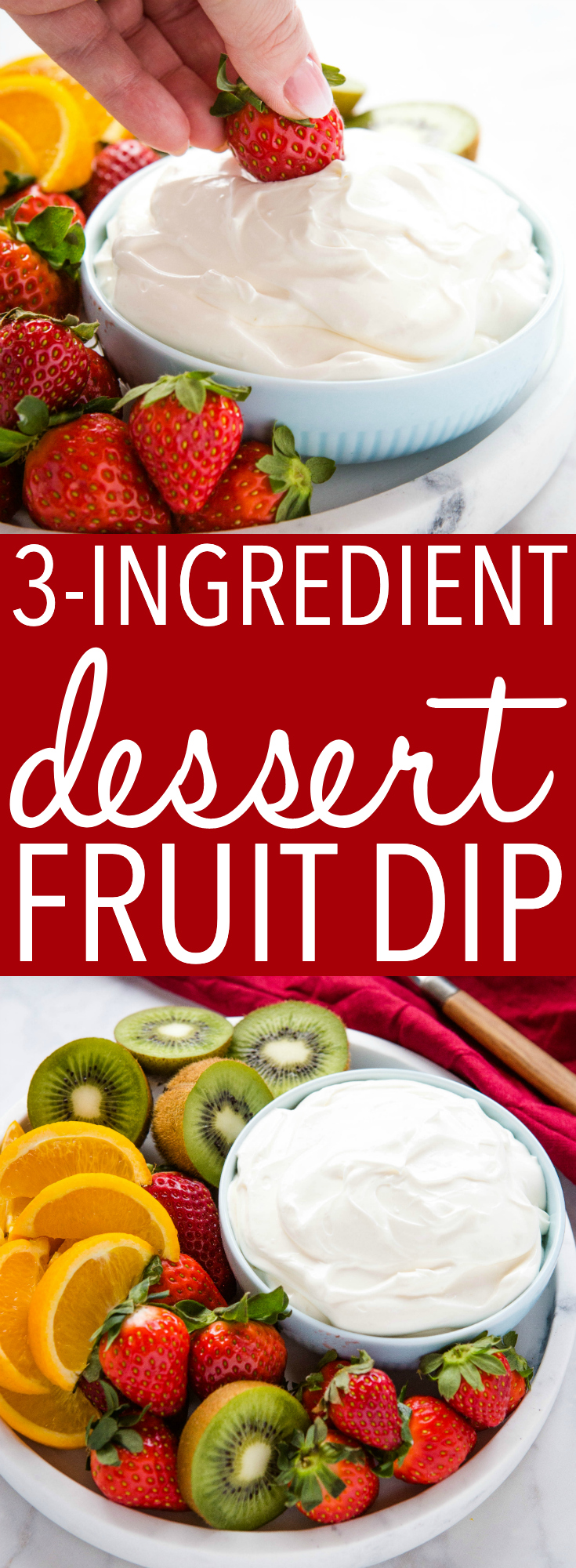 This 3-Ingredient Dessert Fruit Dip is an easy dessert dip for summer! It's made with only 3 simple ingredients and it's perfect for dipping fruit or cookies - great for parties! Recipe from thebusybaker.ca! #dip #fruit #dessert #easyrecipe #barbecue #partydip #party via @busybakerblog