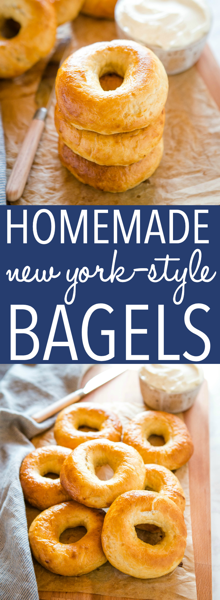 These Easy Homemade New York Style Bagels are the BEST homemade bagels! They're perfectly dense and chewy and they're SO easy to make with no special equipment or ingredients! Recipe from thebusybaker.ca! #bagels #homemade #newyork #carbs #homemade #bread #easyrecipe #homemadebagels via @busybakerblog