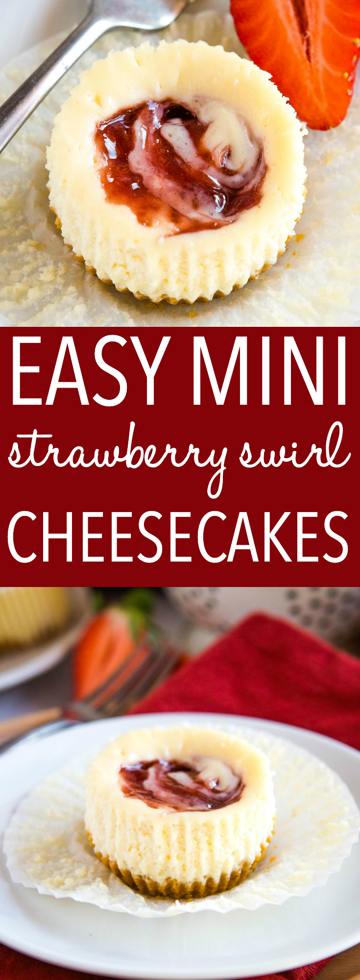 These Easy Mini Strawberry Swirl Cheesecakes are the perfect easy dessert for spring and summer! Just a few simple ingredients, an easy cookie crust and a fluffy cheesecake filling with a swirl of sweet strawberry jam! Recipe from thebusybaker.ca! #strawberry #cheesecake #minicheesecakes #minidessert #summer #spring #baking via @busybakerblog