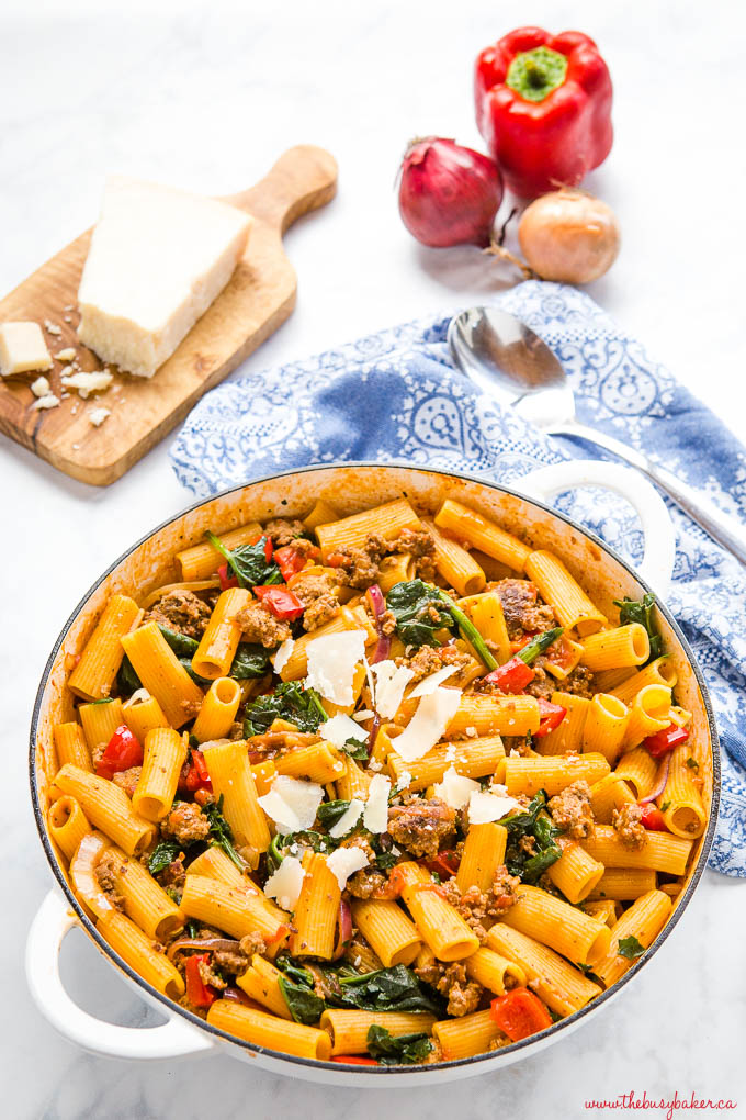 one pot Italian sausage pasta with peppers, spinach and parmesan