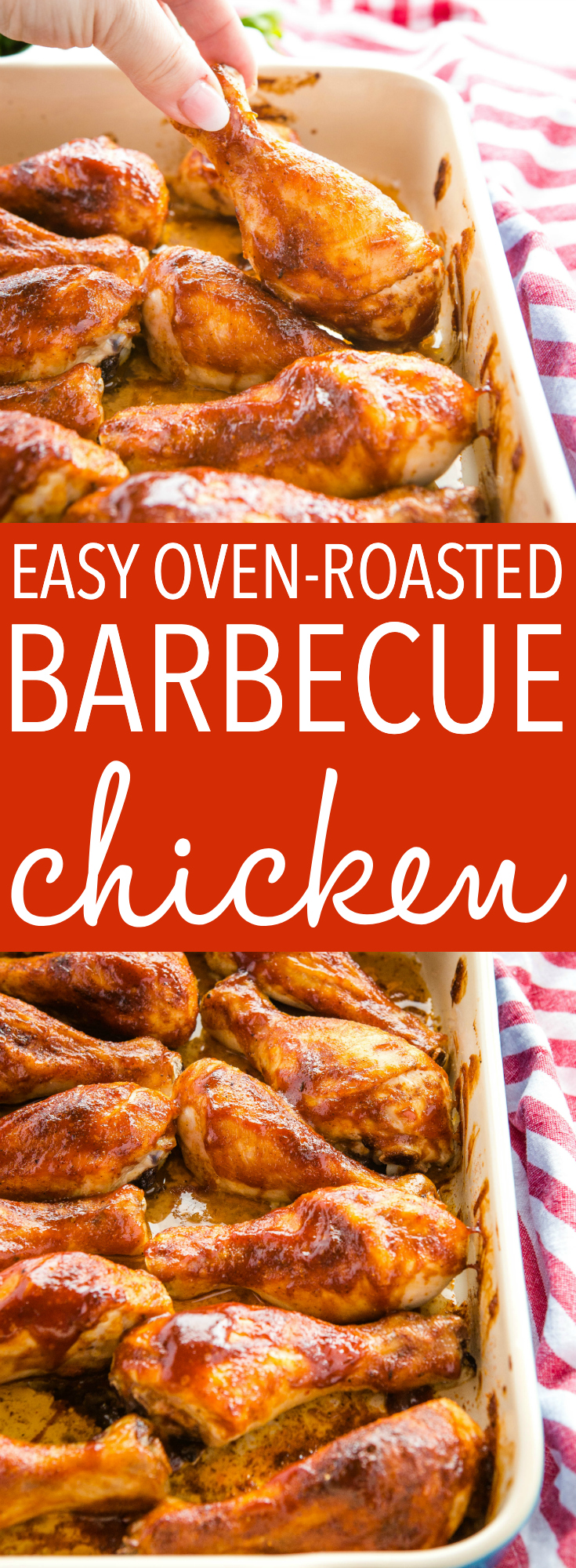 This Easy Oven-Roasted Barbecue Chicken is a delicious and simple main dish recipe made with only 5 simple ingredients! No barbecue or grill required! Recipe from thebusybaker.ca! #chicken #barbecue #grill #summer #barbecuechicken #barbecuesauce #party #backyardbarbecue #family via @busybakerblog
