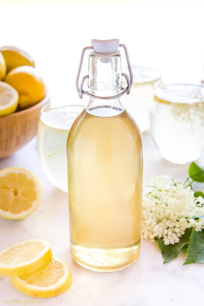 bottle of homemade elderflower syrup