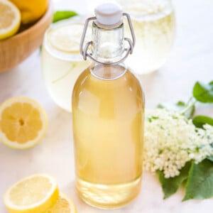 bottle of suc de soc (elderflower syrup)