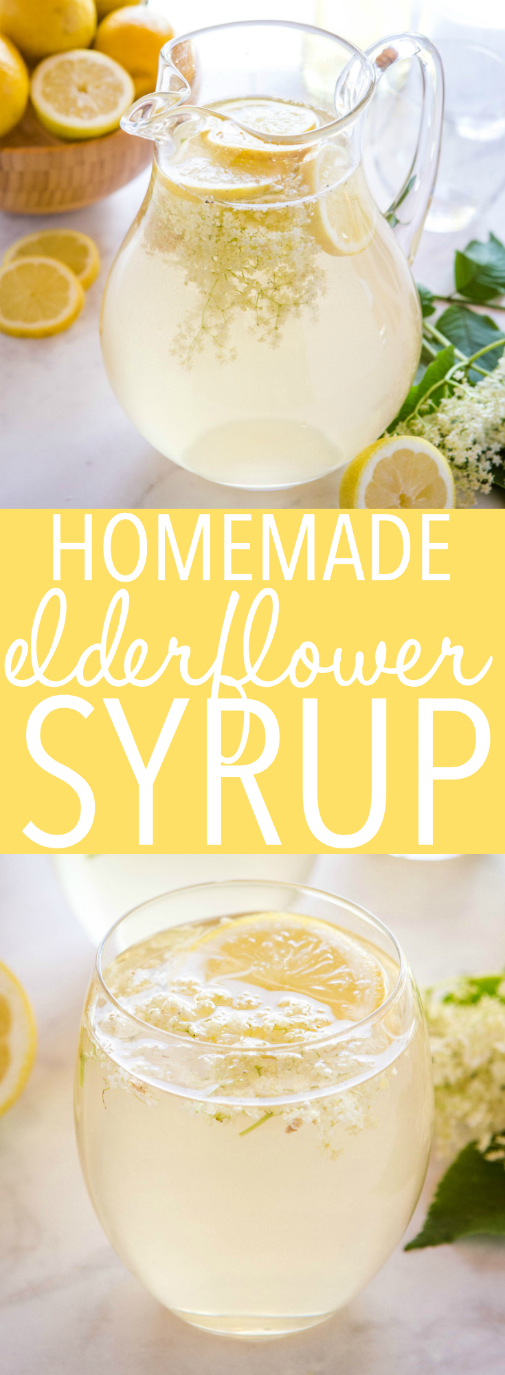 This elderflower syrup recipe makes a sweet floral base for creating delicious drinks and desserts. Make this recipe for a taste of summer! Recipe from thebusybaker.ca! #elderflower #syrup #homemadesyrup #drinks #summer #sucdesoc #holunderblutensirop #holunderblutensaft #siropdesoc #european via @busybakerblog
