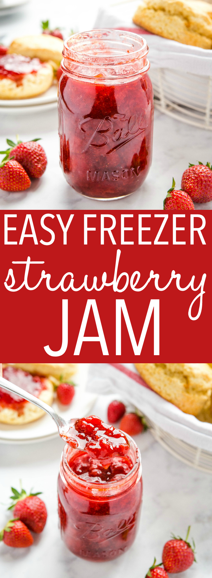 This Easy Strawberry Freezer Jam is a simple and easy homemade jam recipe made with fresh strawberries! Only 3 ingredients, no pectin, and no canning required! Recipe from thebusybaker.ca! #jam #strawberryjam #homemadejam #freezerjam #summer #strawberryrecipes via @busybakerblog