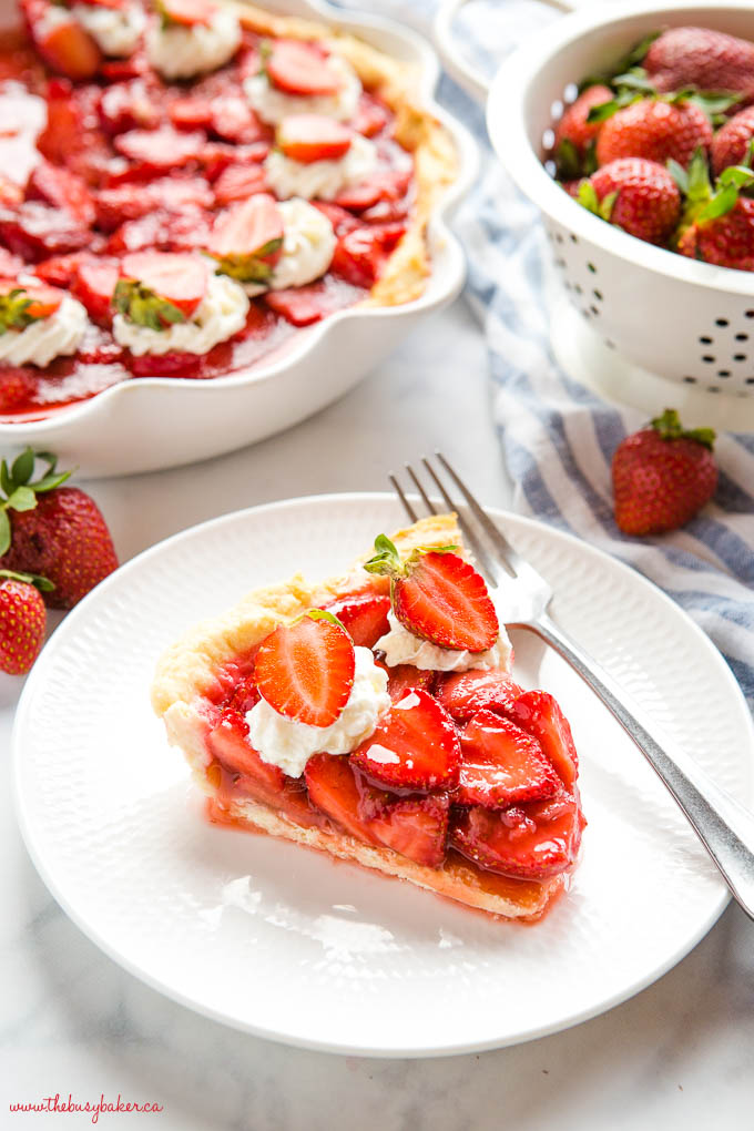 slice of strawberry pie on white plate