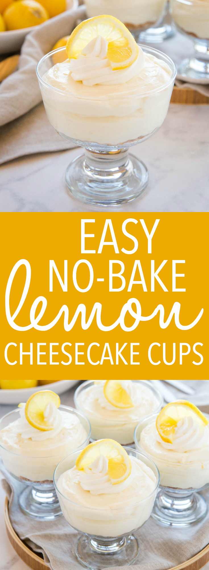 These Easy No Bake Lemon Cheesecake Cups are the perfect simple dessert for summer that's bursting with fresh citrus flavour! They're SO easy to make, no baking required! Recipe from thebusybaker.ca! #lemoncheesecake #cheesecake #lemon #citrus #nobake #dessert #summerdessert via @busybakerblog
