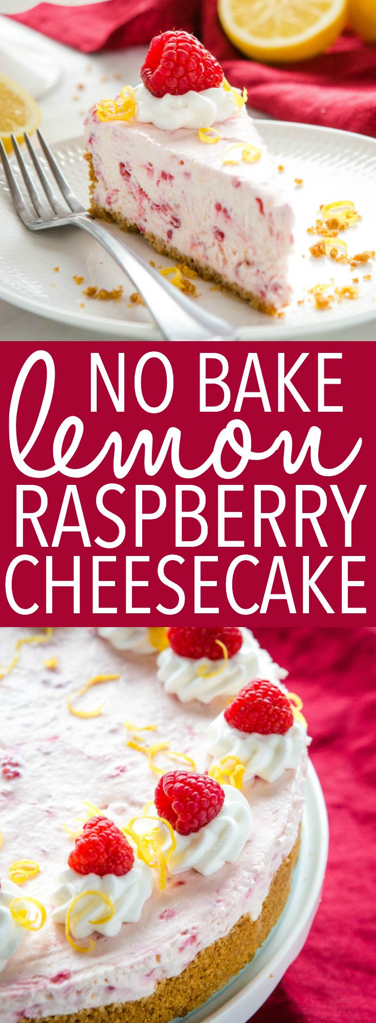 This Easy No Bake Lemon Raspberry Cheesecake is the perfect easy-to-make cheesecake that's ultra creamy & delicious, and packed with raspberries & lemon! Recipe from thebusybaker.ca! #lemonraspberry #cheesecake #nobakecheesecake #fruitcheesecake #summerdessert #nobakedessert via @busybakerblog
