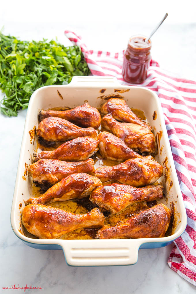 barbecue chicken in casserole dish with barbecue sauce