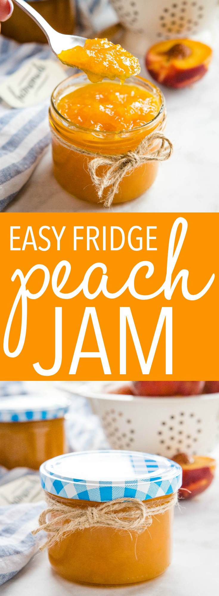 This Easy Peach Freezer Jam is a simple and easy homemade jam recipe made with fresh peaches! Only 3 ingredients, no pectin, and no canning required! Recipe from thebusybaker.ca! #freezerjam #peaches #fruit #canning #easyjamrecipe #jam #homesteading #homemaking #homemade via @busybakerblog