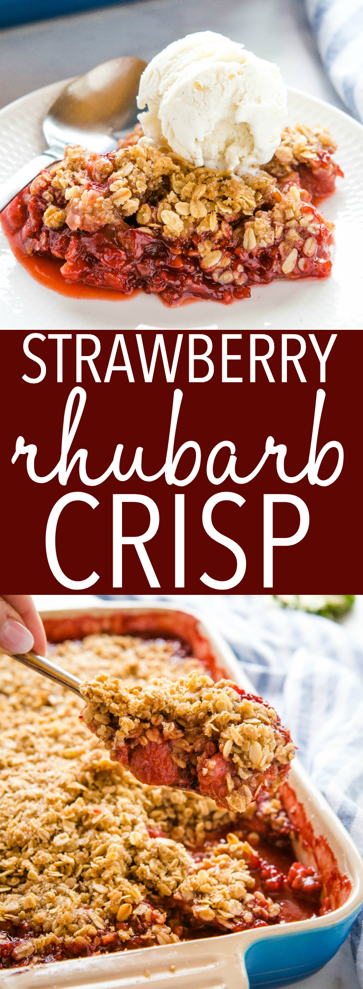 This Strawberry Rhubarb Crisp is the perfect simple summer dessert featuring fresh juicy strawberries and fresh rhubarb! A healthier dessert that's easy to make gluten-free! Recipe from thebusybaker.ca! #strawberryrhubarb #strawberry #dessert #summer #easydessert #healthy #glutenfreedessert #fruitcrisp #cobbler via @busybakerblog