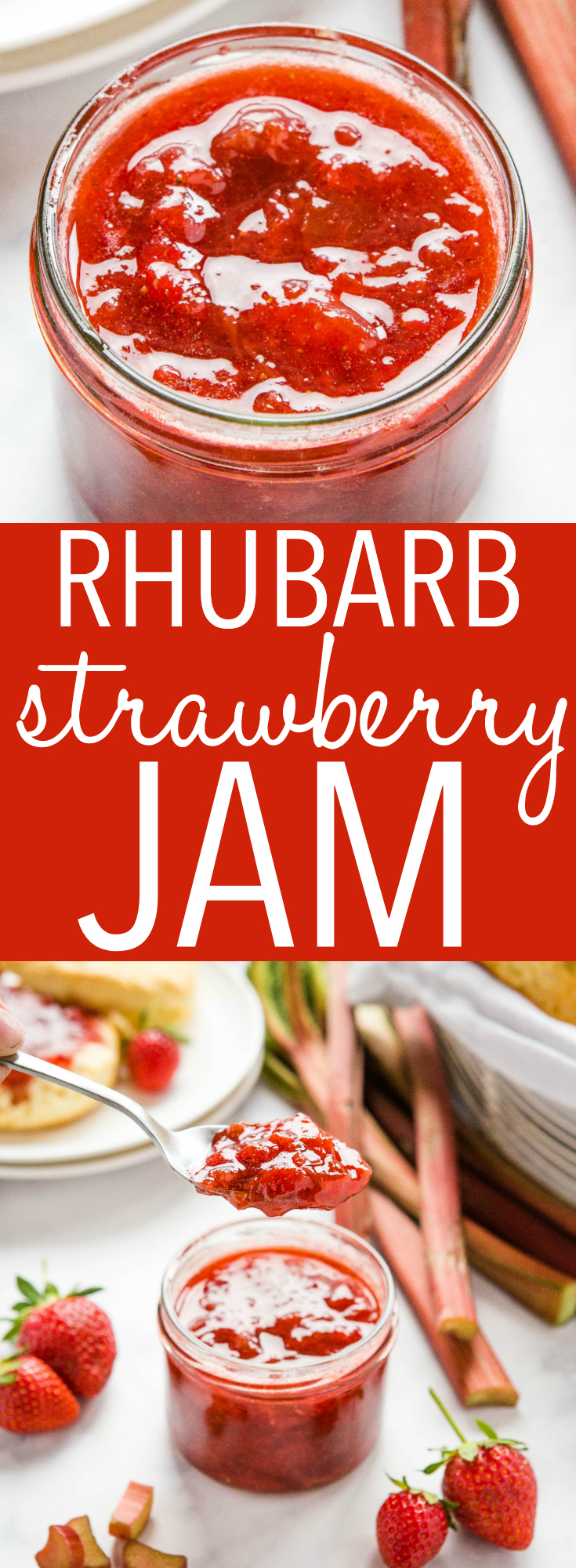This Strawberry Rhubarb Freezer Jam is a simple and easy homemade jam recipe made with fresh strawberries & rhubarb! 4 ingredients, no pectin, & no canning! Recipe from thebusybaker.ca! #strawberryrhubarb #jam #homemadejam #freezerjam #strawberryrhubarbjam via @busybakerblog