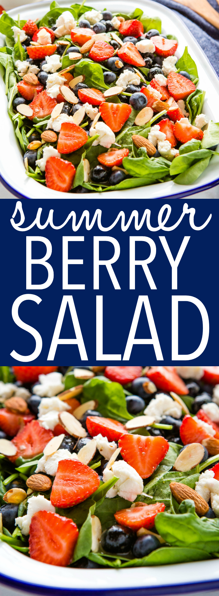This Summer Berry Salad is the perfect side dish for hot summer days! Delicious juicy berries on a bed of baby spinach, sliced almonds, goat cheese, and a creamy lemon vinaigrette dressing. Recipe from thebusybaker.ca! #summerberrysalad #strawberries #goatcheese #spinachsalad #sidedish #barbecue #party via @busybakerblog