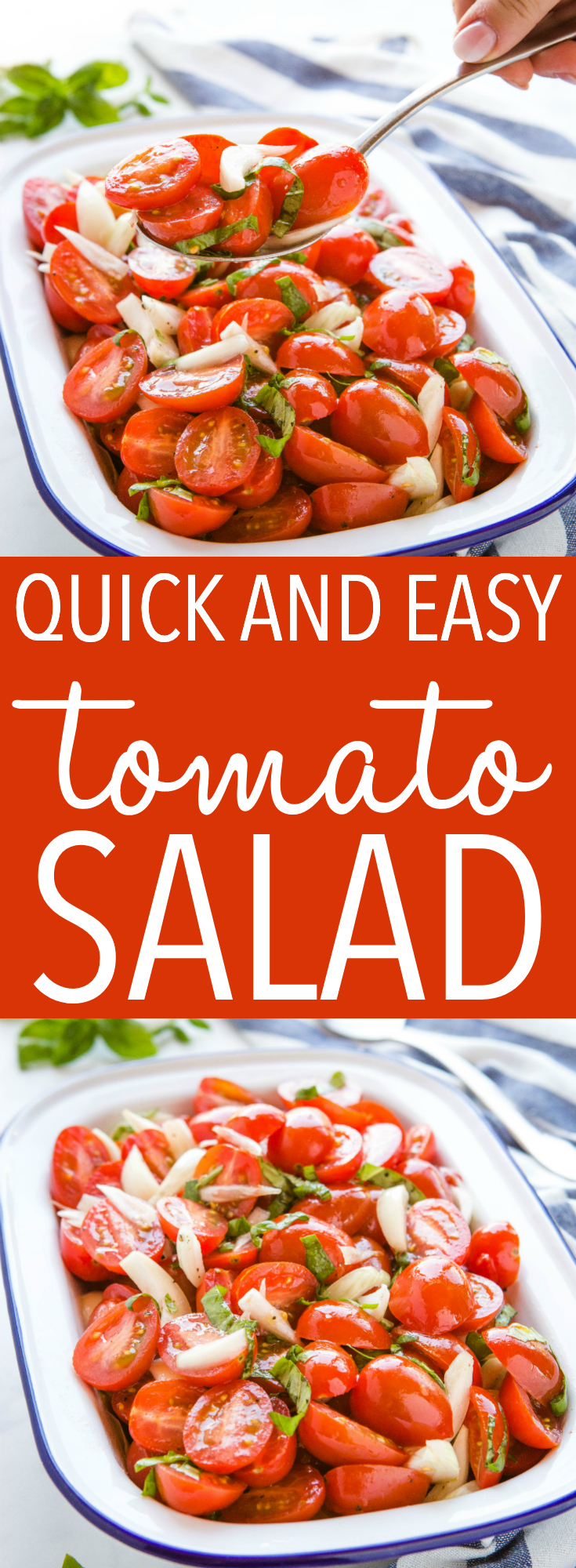 This Quick and Easy Tomato Salad is a classic easy salad recipe that's packed with ripe tomatoes, onions and fresh basil. It's the perfect simple side dish for summer! Recipe from thebusybaker.ca! #tomatosalad #tomatorecipe #sidedish #grilling #summer #recipe #quickandeasy via @busybakerblog