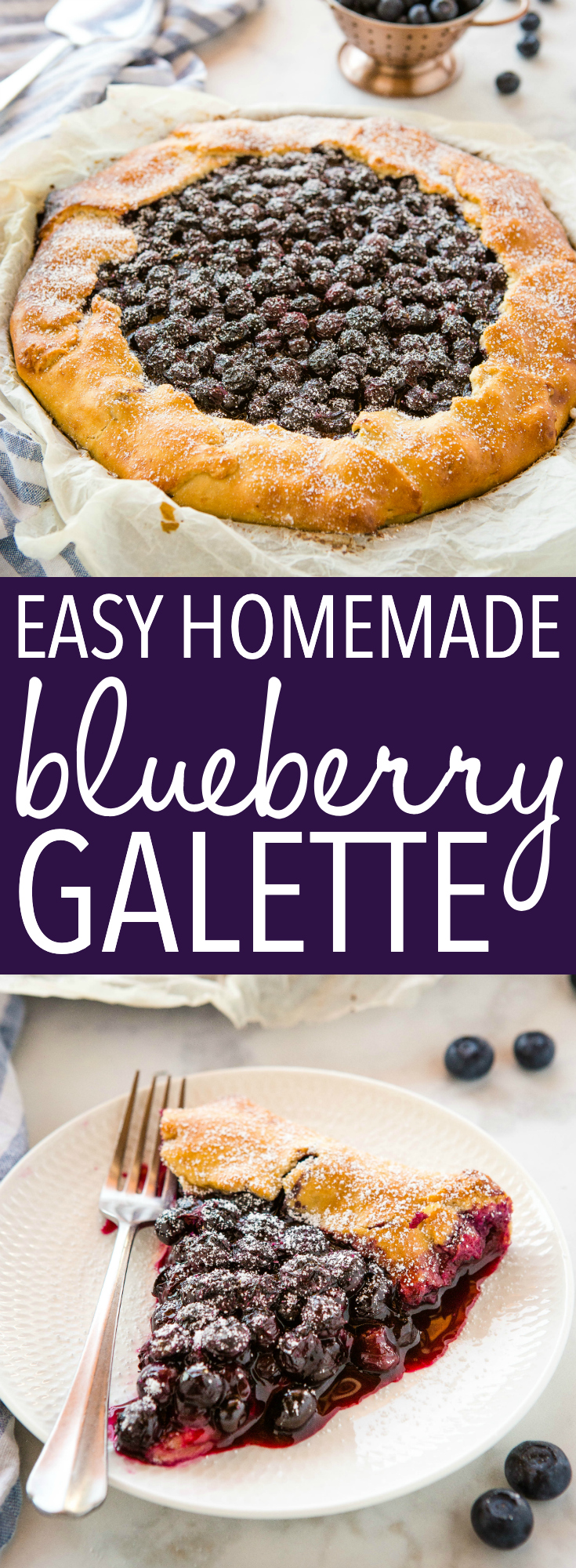 This Easy Blueberry Galette is the perfect simple summer dessert made with an easy homemade pie crust and fresh juicy blueberries! Recipe from thebusybaker.ca! #galette #homemadepie #blueberrypie #blueberries #fresh #dessert #summer #harvest via @busybakerblog