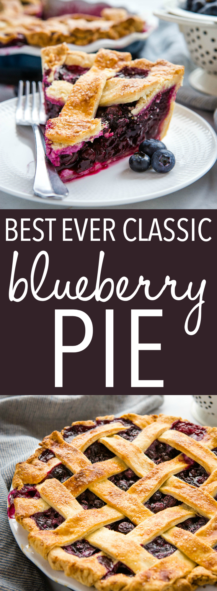 This Classic Blueberry Pie is the perfect summer dessert recipe made with an all-butter crust and fresh juicy blueberries. It's a simple pie recipe that's easy enough for anyone to make - even beginners! Be sure to follow my pro tips below for the perfect old fashioned blueberry pie! Recipe from thebusybaker.ca! #pie #blueberrypie #homemade #fromscratch #blueberries #fruitpie #summer #summerdessert via @busybakerblog