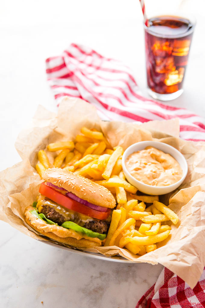 cheeseburger platter with french fries and burger sauce for dipping