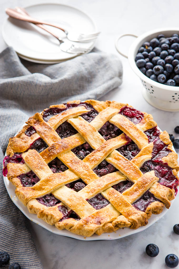 homemade from-scratch blueberry pie with lattice top