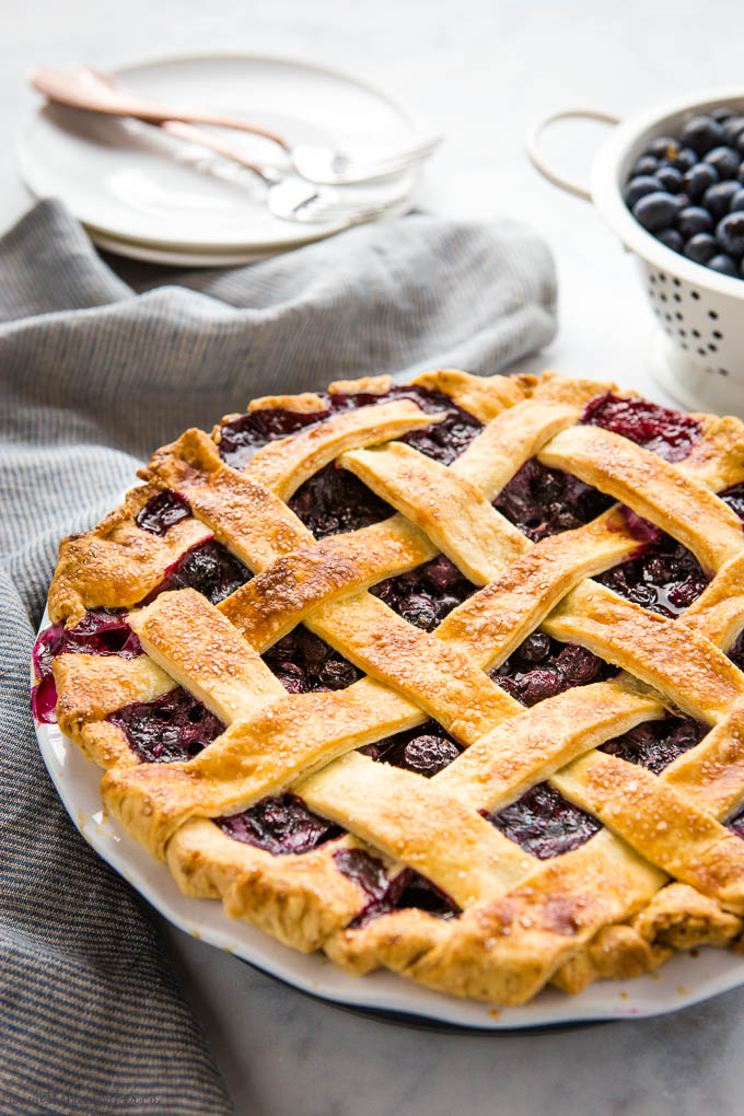 baked blueberry pie with lattice crust
