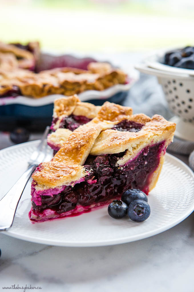 slice of blueberry pie with lattice top, on white dessert plate with fork