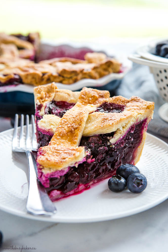slice of blueberry pie with fresh blueberries on white dessert plate with fork