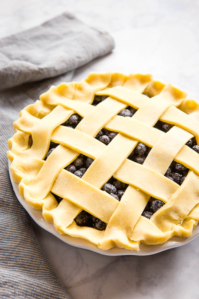 unbaked blueberry pie with lattice top